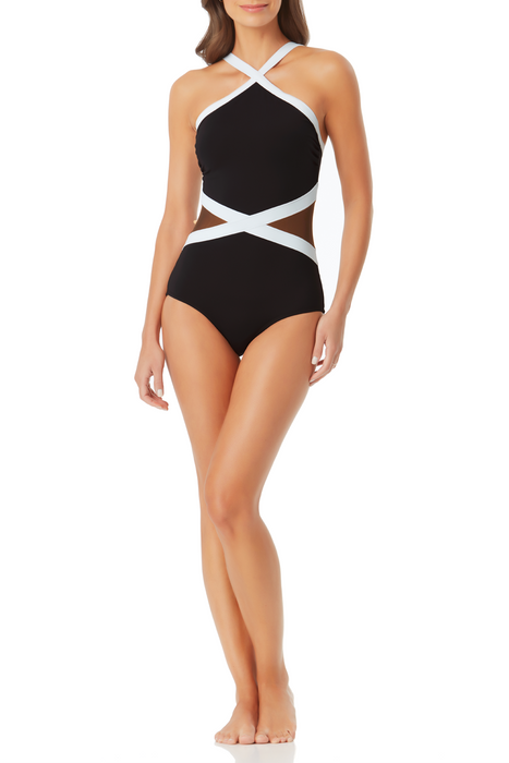 Anne Cole - Colorblock Mesh High Neck One Piece Swimsuit