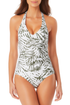 Anne Cole - Shirred Front Halter One Piece Swimsuit