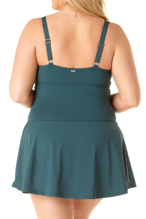 Anne Cole Plus - Shirred Underwire Swimdress