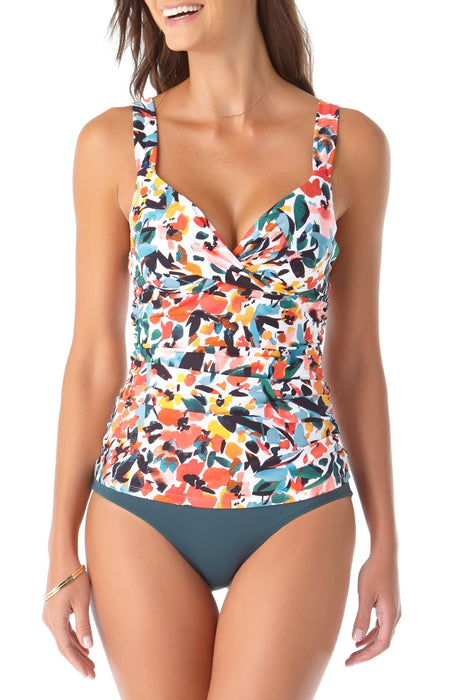 Anne Cole - Cup Sized Underwire Twist Front Over the Shoulder Tankini Swim Top
