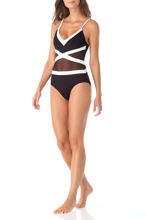 Anne Cole - Colorblock Mesh V Neck One Piece Swimsuit