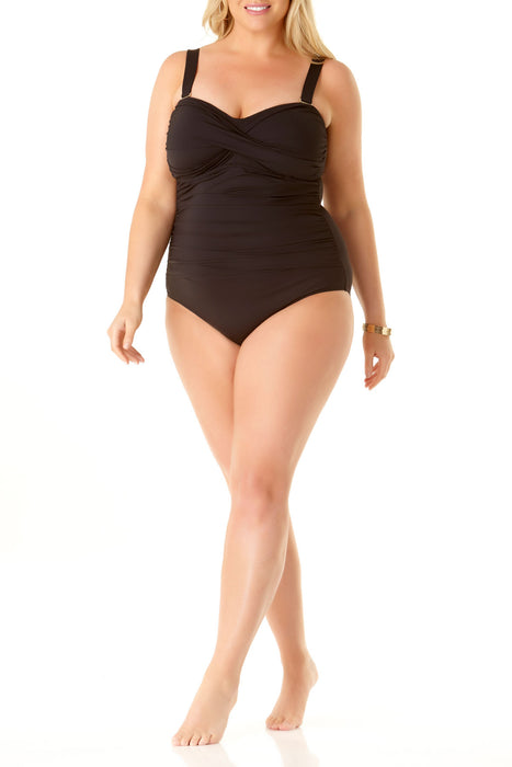 Anne Cole Plus - Twist Front Strapless One Piece Swimsuit