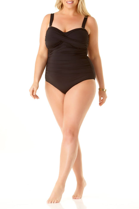Anne Cole Plus - Twist Front Shirred One Piece