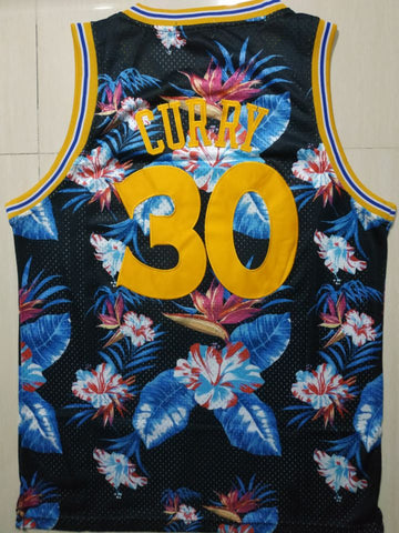 Men 30 Stephen Curry Jersey Blue Flower Style Jersey Hardwood Classics - fastssd - NBA Jersey - nRevo