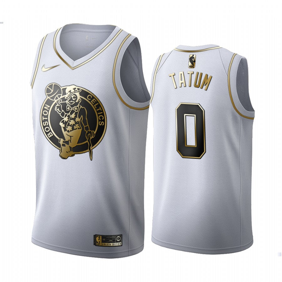 Jayson Tatum Jersey #0 Boston Celtics Jersey White Golden Edition Jersey