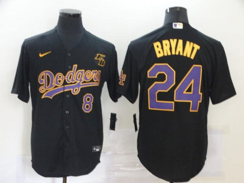 Men 24 Kobe Bryant Jersey Black Los Angeles Dodgers Jersey MLB Fanatics - nRevo