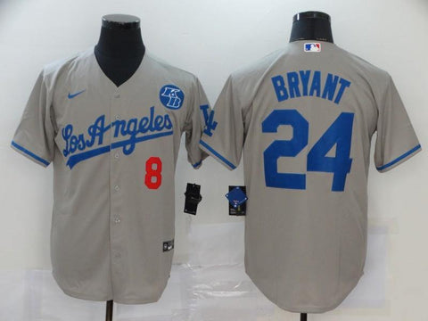Men 24 Kobe Bryant Jersey Gray Los Angeles Dodgers Jersey MLB Fanatics - nRevo