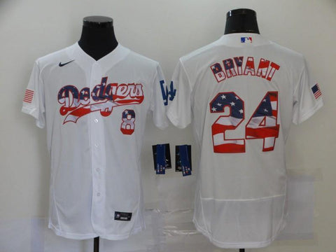 Men 24 Kobe Bryant Jersey White Los Angeles Dodgers Jersey MLB Fanatics - nRevo