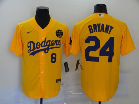 Men 24 Kobe Bryant Jersey Yellow Los Angeles Dodgers Jersey MLB Fanatics - nRevo
