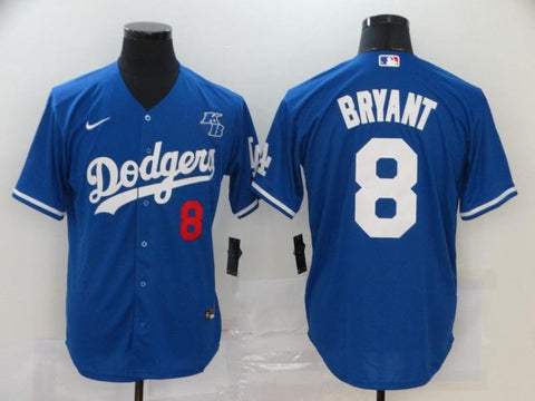 Men 8 Kobe Bryant Jersey Blue Los Angeles Dodgers Jersey MLB Fanatics - nRevo