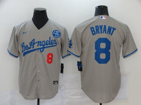 Men 8 Kobe Bryant Jersey Gray Los Angeles Dodgers Jersey MLB Fanatics - nRevo