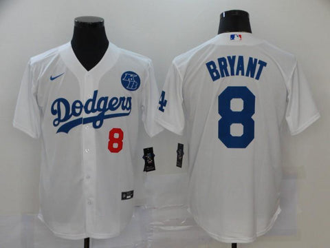 Men 8 Kobe Bryant Jersey White Los Angeles Dodgers Jersey MLB Fanatics - nRevo