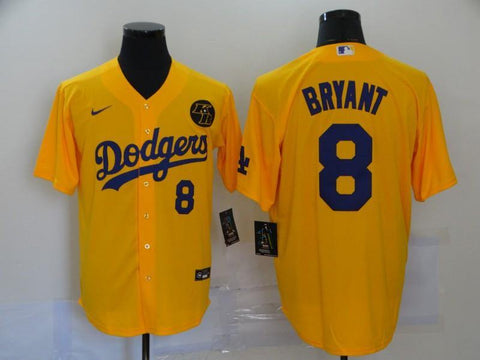 Men 8 Kobe Bryant Jersey Yellow Los Angeles Dodgers Jersey MLB Fanatics - nRevo