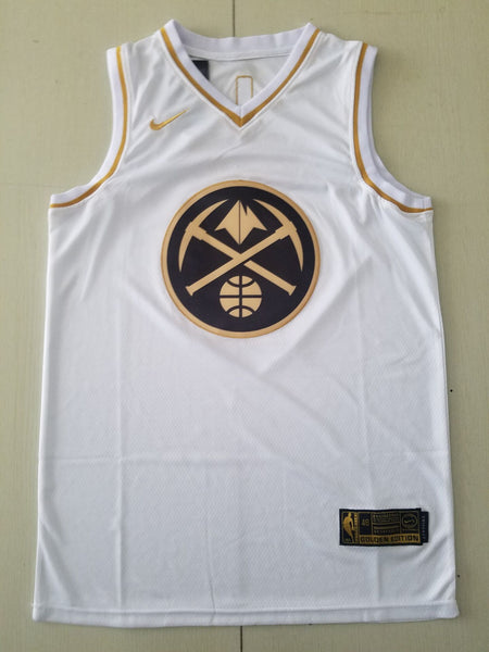 Men 15 Nikola Jokic Jersey White Golden Edition Denver Nuggets Jersey Swingman