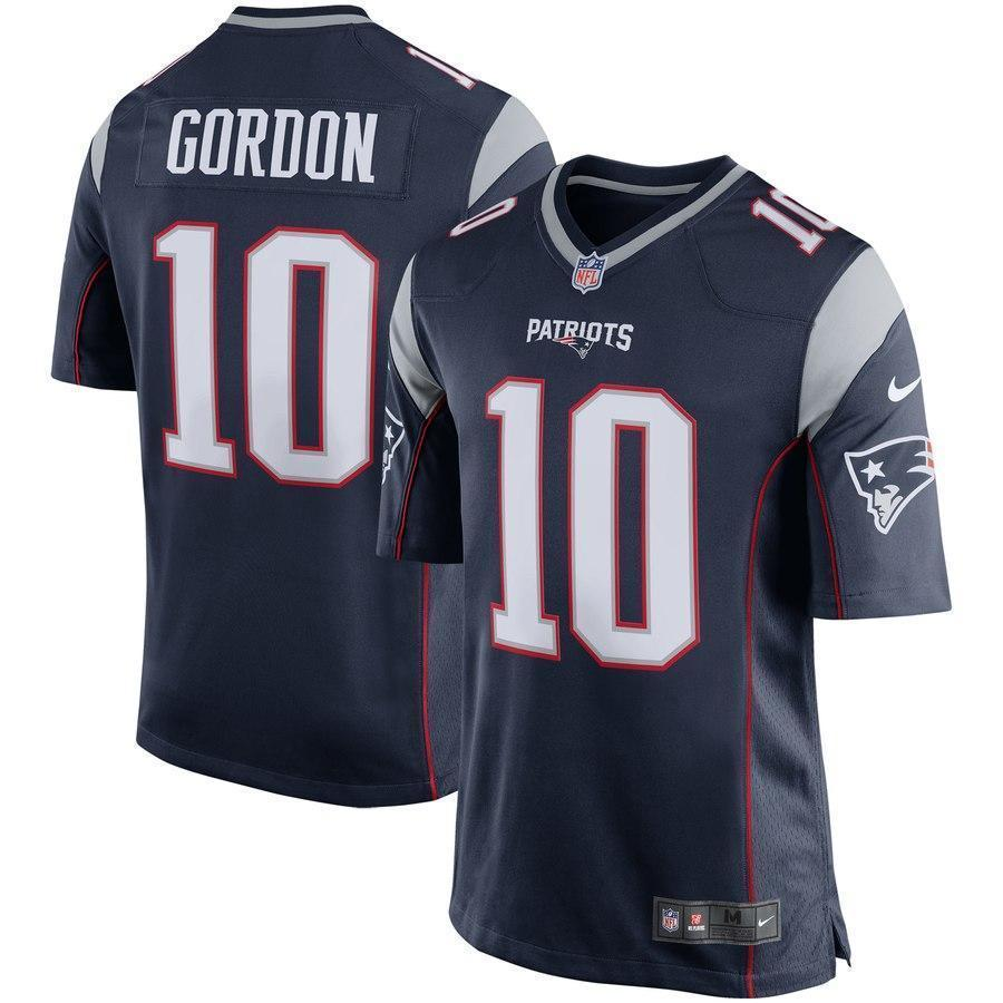 Josh Gordon #10 New England Patriots Navy Player Game Jersey