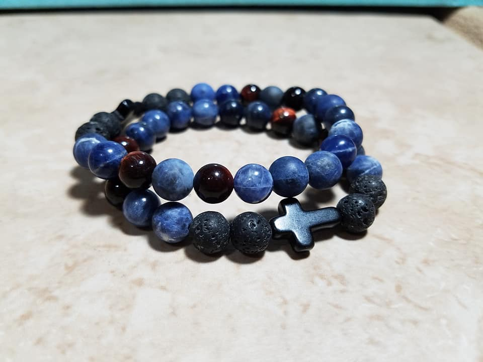 Blue Sodalite and Red Tiger Eye Faith Bracelet