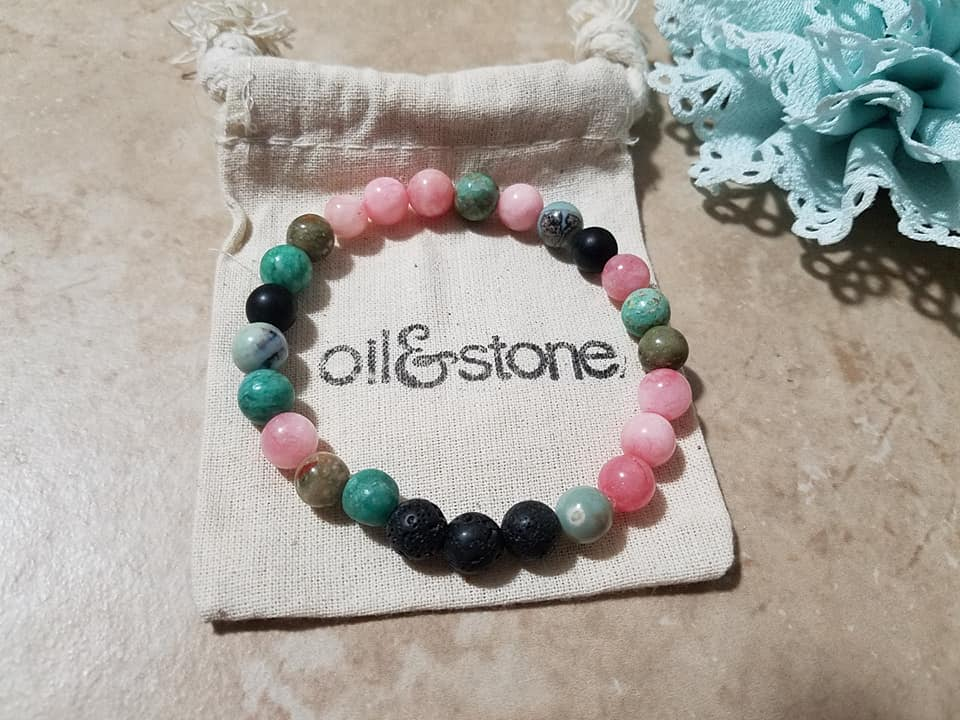 Pink and Green Jade Diffuser Bracelet