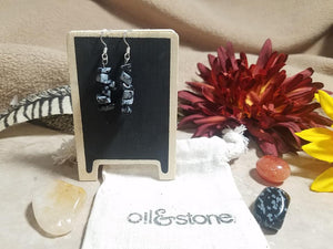 Snowflake Obsidian Chip Gemstone Earrings