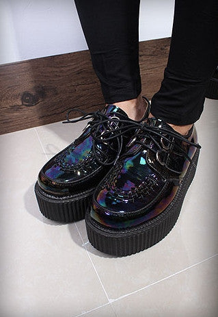 Dark Hologram Leather Creepers - Alison Sman - 7