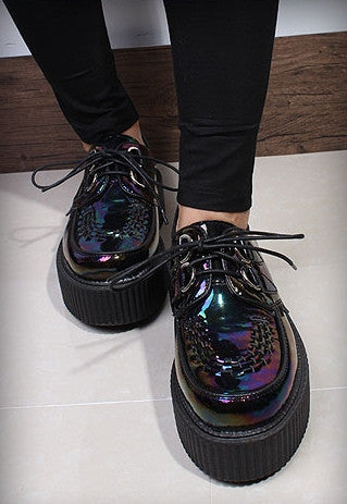 Dark Hologram Leather Creepers - Alison Sman - 8