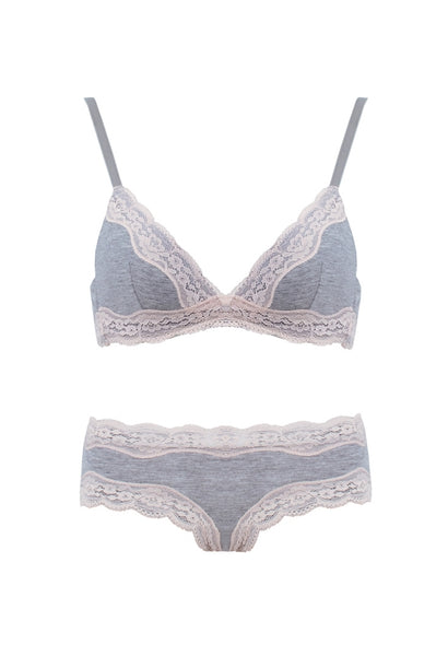 Wireless Lace Bra and Bikini Set