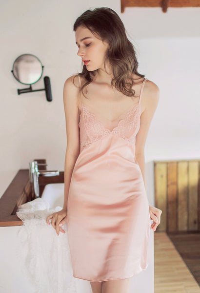 Pastel Pink Slip with Lace