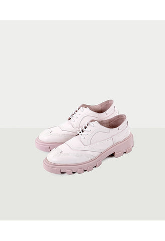 MAR Pink Leather Heeled Oxfords
