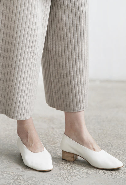 KOOW White Leather Mules