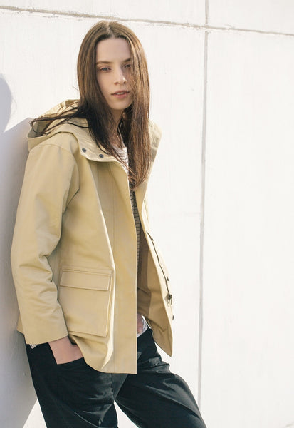 Linen Blend Hooded Jacket