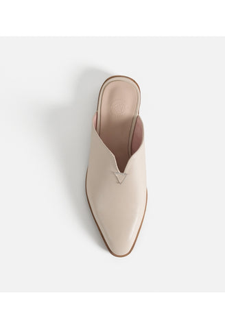 Minimal Cream Leather Mules