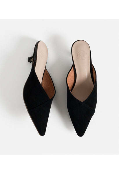 ERIN Black Suede Leather Mules