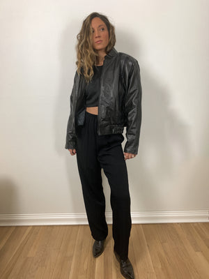 Lined Leather Bomber