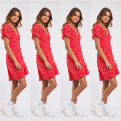 Something floral Tea dress in red