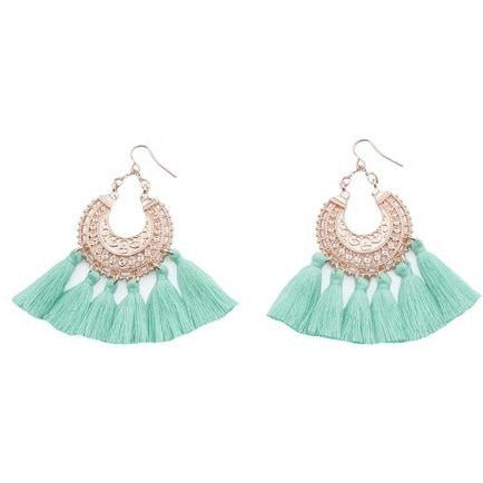 Blush tassel earrings in MINT