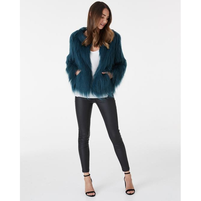 Marmont Faux Fur Jacket in Emerald Green