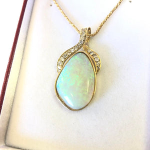 Opal & Diamond Pendant 18k Gold FINE JEWELRY