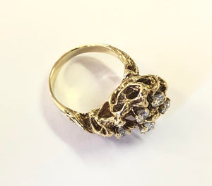 Diamond Cluster Freeform Ring 10k Gold FINE JEWELRY