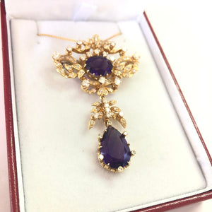 Amethyst & Diamond Brooch Necklace FINE JEWELRY