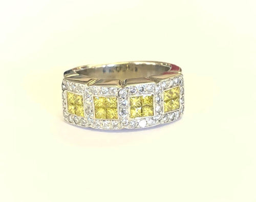 Yellow & White Diamond Ring 18k FINE JEWELRY