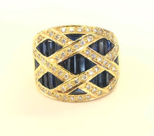 Load image into Gallery viewer, Sapphire & Diamond Ring 18k FINE JEWELRY