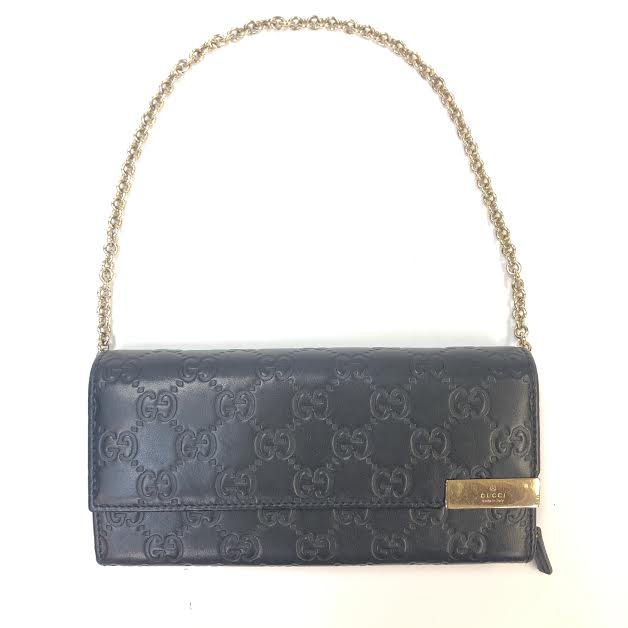 GUCCI Embossed Wallet on a Chain