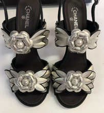 Load image into Gallery viewer, CHANEL Camellia Metal/Pearl Detail Heels