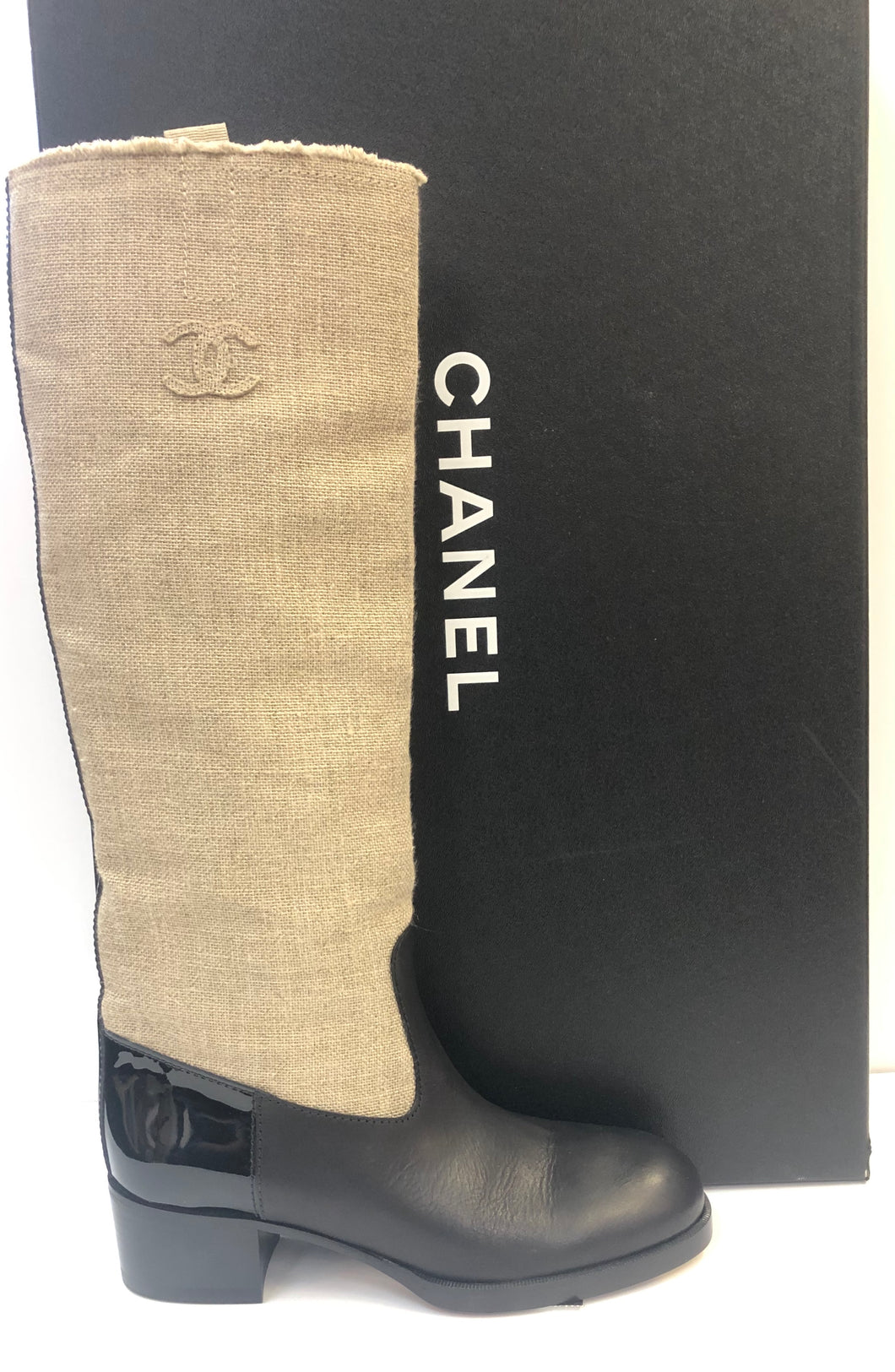 CHANEL Canvas & Leather Riding Boots 18C