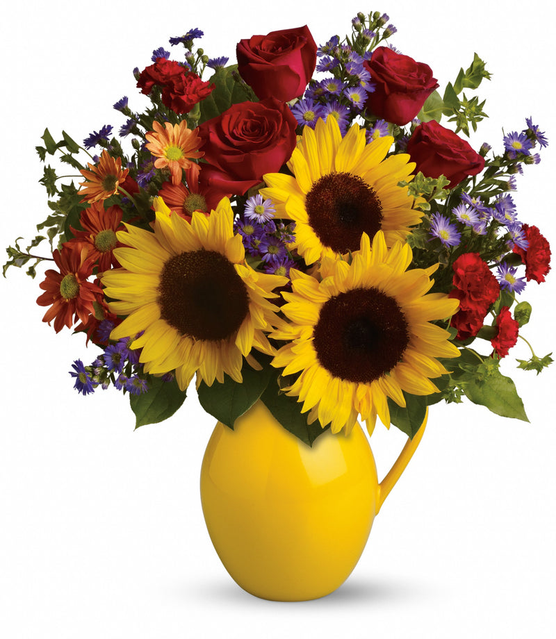 Sunny Day Pitcher of Joy Bouquet
