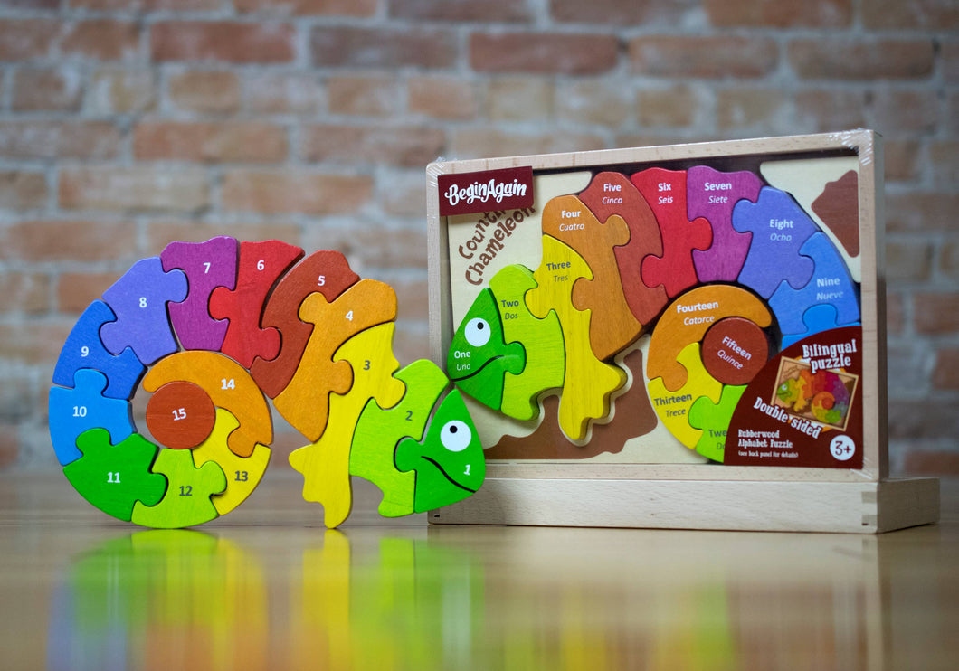 Counting Chameleon Puzzle - Bilingual!