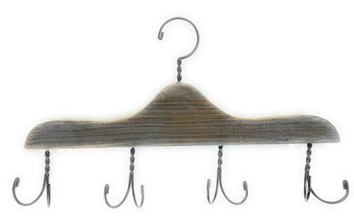Wooden hanger with 4 hooks.