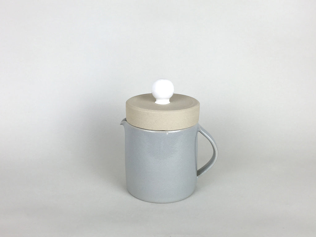 French Stoneware Basic Teapot - White / Smoke - eyespy