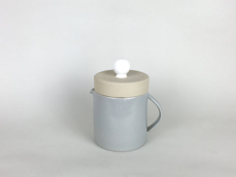 French Stoneware Basic Teapot - White / Smoke