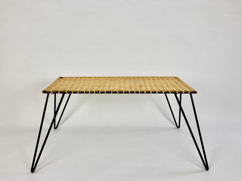 Rattan and metal low table by Raoul Guys, France c1950-60