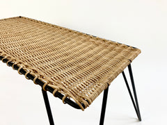 Eyespy - Rattan and metal low table by Raoul Guys, France c1950-60